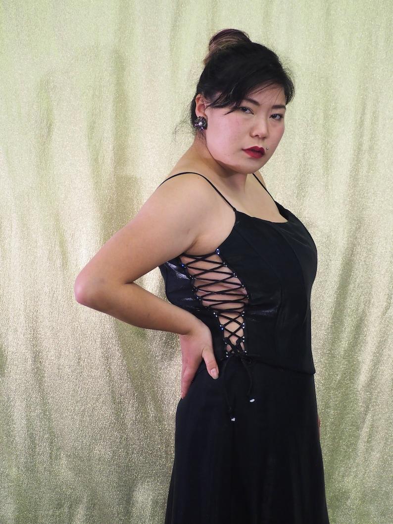 Size Large by F.I.E.S.T.A Vintage 1990s 2 Piece Gown Set Shiny Black Lace Up Sides Top Silver Rhinestone Seperates Silky Sheath Skirt
