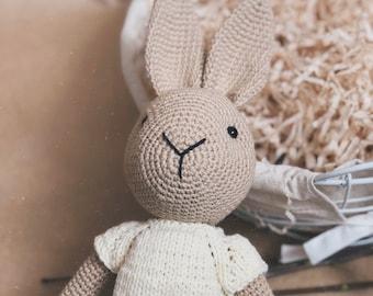 Baby amigurumi Bunny GOLDIE, crochet rabbit and crochet toy for newborn or baby gift, newborn shower