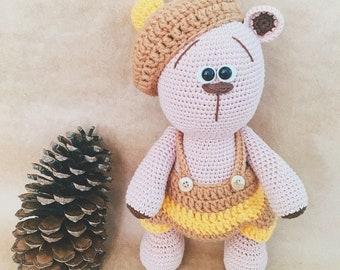 Knitted teddy bear, props for a newborn boy, teddy bear, knitted bear doll