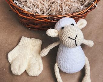 knitted lamb,children's toy,Knitted stuffed sheep, Amigurumi lamb sheep, Nursery baby lamb decor