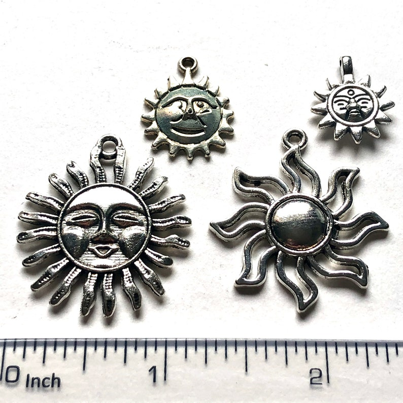 4 pieces SUN Tibetan silver charms hand painted jewellery findings