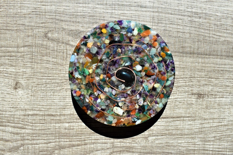 Mixed Crystals with Copper Wire and Hematite Resin Table Drink Coasters Set of 3
