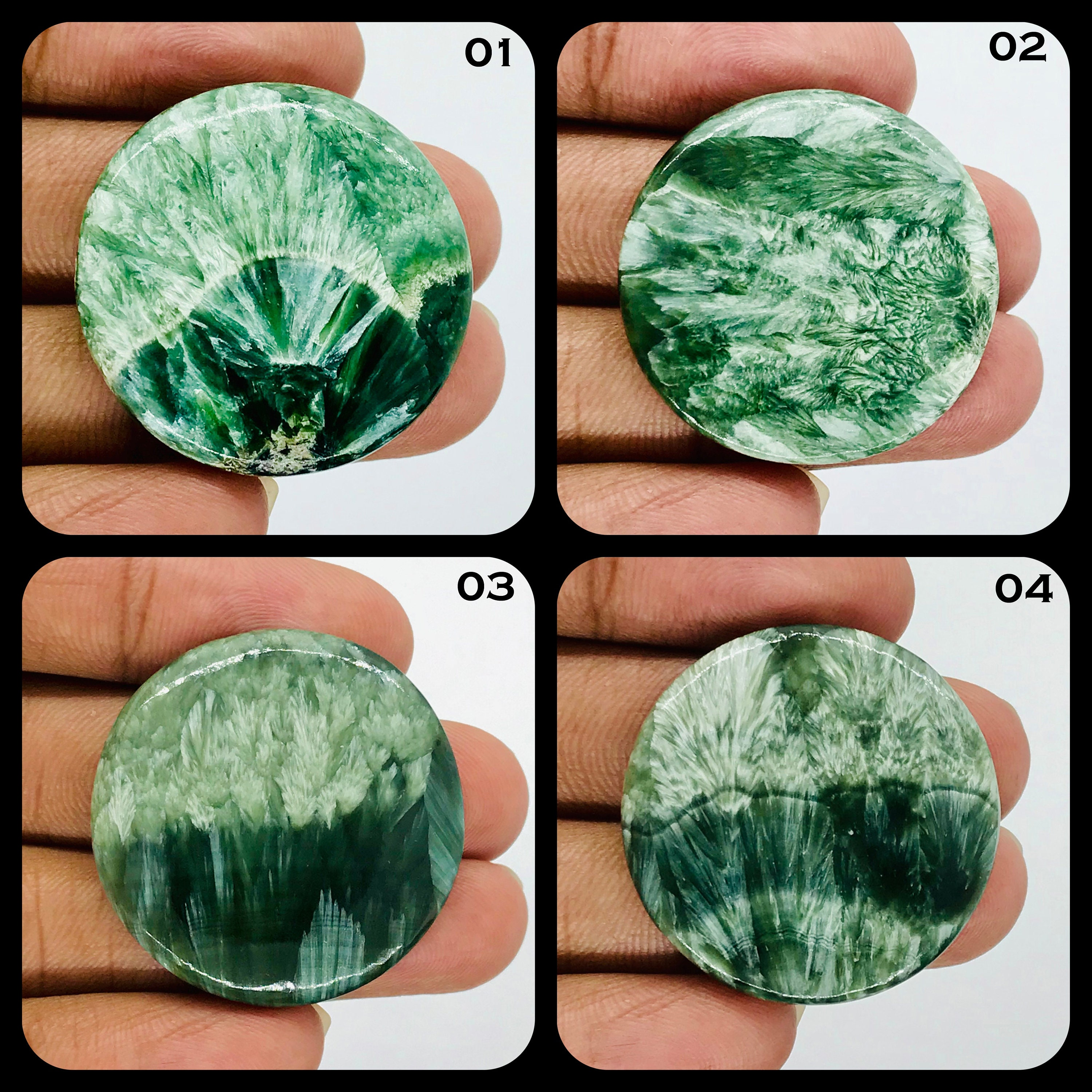 Mix Shape Green Seraphinite Gemstone Cabochon Seraphinite Cabochon Natural Seraphinite Pendant or Ring For Jewelry Making Supply