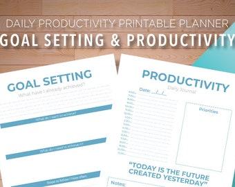 Daily Productivity Planner, Printable To Do List, Project Schedule, Daily Schedule, Project Planner Goal Tracker, Goal Planner, Goal Setting