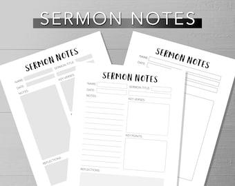 Sermon Notes | Printable Sermon Notes For Adults | Church Sermon | Blank Sermon Notes Printable | Printable Sermon Note Sheets