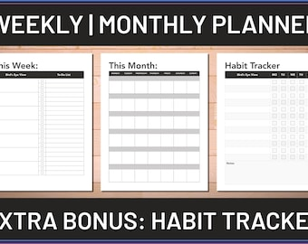 Weekly & Monthly Planner Printable, Get Organized, Stay Productive, Stay Focused, Habit Tracker Digital Download