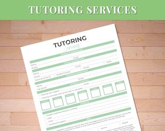 Printable Tutoring Services / Tutors / Tutoring Business / Tutoring Services / Tutoring Worksheet / Printable Digital Download