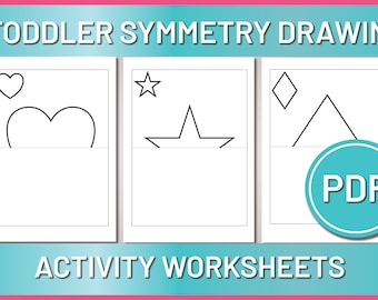 Toddler Symmetry Drawing, Toddler Handwriting Activity, Preschool Drawing Worksheet