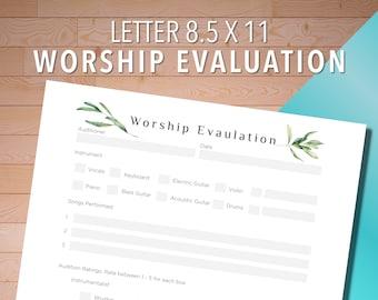 Worship Evaluation Music Audition Sheet, Worship Notes, Worship Ministry, Worship Leader, Worship Pastor, Church Music, 8.5 x 11