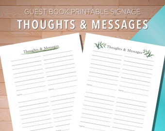 Guest Book Printable, Thoughts and Messages, Funerals, Wedding Receptions, Airbnb, Funerals, Digital Download