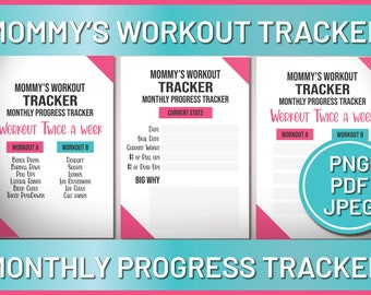 Mommy's Workout Tracker, Women Health Workout Planner, Monthly Progress Tracking, Women Fitness and Health Printable Instant Download