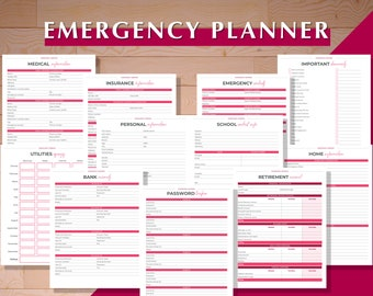 Emergency Binder, Emergency Planner, Emergency Plan, Printable Emergency Planner, Emergency Information, Emergency Contacts, School Contact