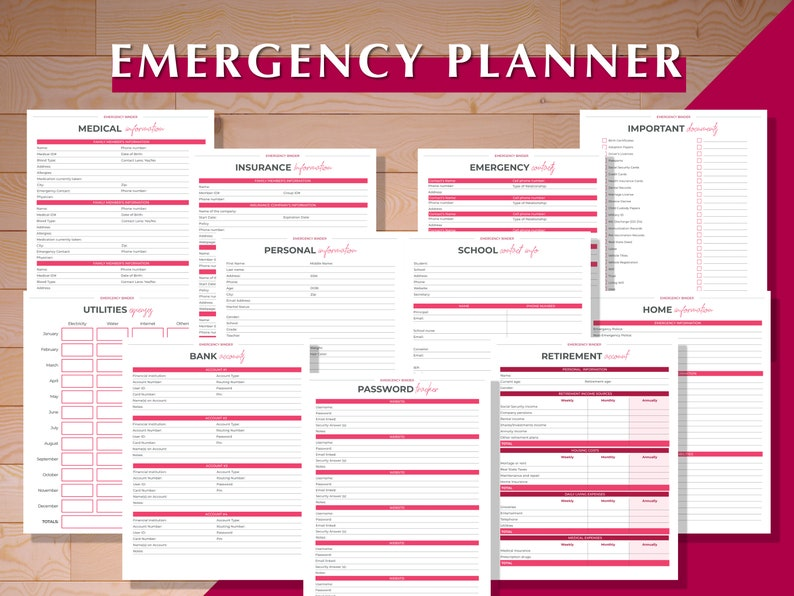 Emergency Binder Emergency Planner Emergency Plan Printable image 1