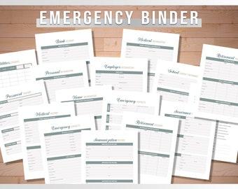 Emergency Binder |  Emergency Preparedness Kit | Emergency Printable Organizer | Personal Financial Planning Preparation | Family Emergency