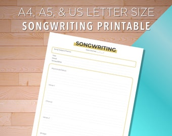 Songwriting Printable, Music Songwriting, Song Writers Journal, Songwriting Diary, Campfire Songwriting, Song Writing, Girl Songwriting