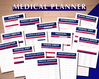 Medical Planner, Appointment Calendar, Blood Pressure Tracker, Blood Sugar Tracker, Dental Visit, Emergency Contacts, Family Health History