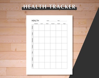 Health Tracker, Printable Health Tracker, Health Tracker Page, Printable Health Goal Tracker, Fitness Tracker Printable, Fitness Tracker