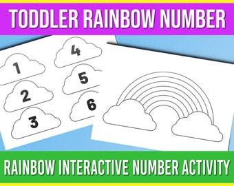 Toddler Rainbow Number, Rainbow Interactive Number Activity, Toddler Activity Worksheets, Toddler Printable Numbers