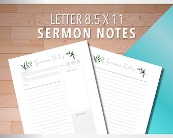 Sermon Notes, Church Sermon Notes, Church Notes, Ministry Sermon Notes, Preaching Notes, US Letter Size 8.5, Tropical and Watercolor Styles