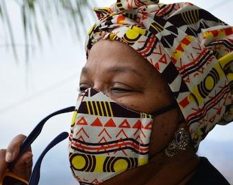 African Print Head Wrap + Turban Headband + Reusable Face Mask With Filter Pocket Matching Set Bundle Deal