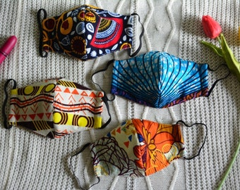 African Print Reusable Face Mask With Filter Pocket