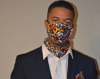 Washable, Handcrafted Face Mask w/ MATCHING Men's Scarf + Pocket Square