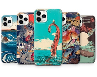 Japanese Wave Phone Case Kanagawa Great Wave Cover fit for iPhone 13 Pro, 12, 11, XR, XS, 8, 7 & Samsung S10, S21, A51, Huawei P20, P30 Lite