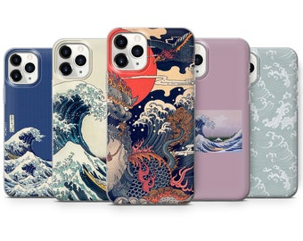 Japanese Wave Phone Case Kanagawa Great Wave Cover fit for iPhone 13 Pro, 12, 11, XR, XS, 8+ & Samsung S10, S21, A50, A51, Huawei P20, P30