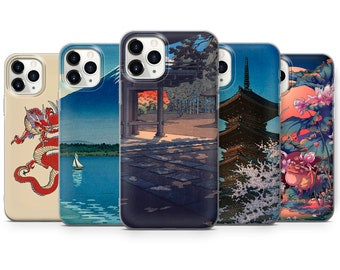 Japanese Style Phone Case Mountain and Sun Art Cover fit for iPhone 13 Pro, 12, 11, XR, XS, 8+ & Samsung S10, S21, A51, Huawei P20, P30 Lite
