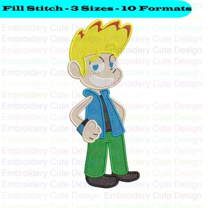10 Formats Instant Download Johnny Test Embroidery Design 3 Sizes