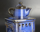 Piquaboo No. 67 Blue Ceramic Oil Burner Stove Teapot Style Wax Melts Burner Aromatherapy Tart Burner For Home Gift Essential Oil Diffuser