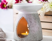 Piquaboo No. 41 Large Grey and White Aromatherapy Wax Melts Tart Burner For Home Gift Essential Oil Diffuser