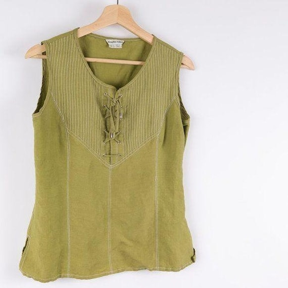 Vintage Corset Style Eden Lace Up Green Tank Top - image 4