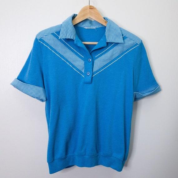 Vintage Retro Blue & White Gingham Polo Bowler Sh… - image 1