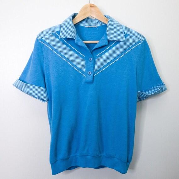 Vintage Retro Blue & White Gingham Polo Bowler Sh… - image 2