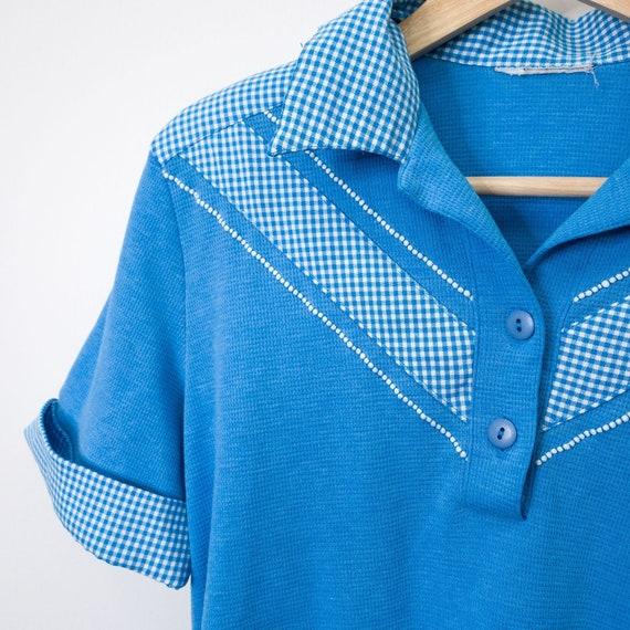 Vintage Retro Blue & White Gingham Polo Bowler Sh… - image 3