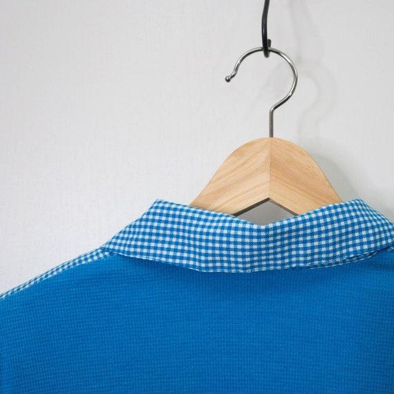 Vintage Retro Blue & White Gingham Polo Bowler Sh… - image 7