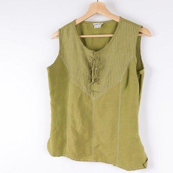Vintage Corset Style Eden Lace Up Green Tank Top - image 3