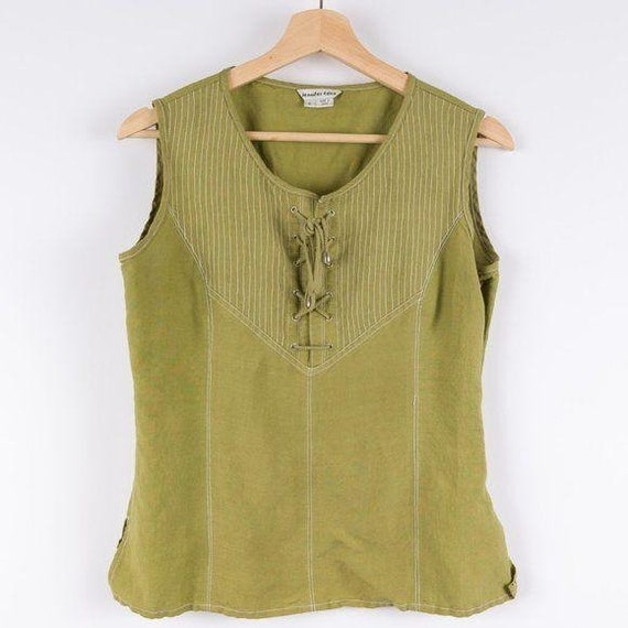 Vintage Corset Style Eden Lace Up Green Tank Top - image 1