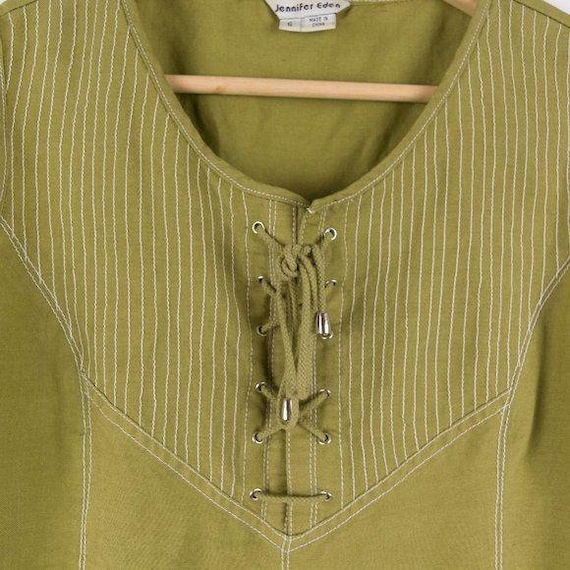 Vintage Corset Style Eden Lace Up Green Tank Top - image 2