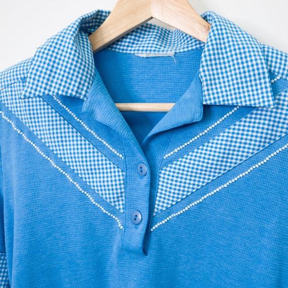 Vintage Retro Blue & White Gingham Polo Bowler Sh… - image 6