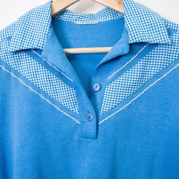 Vintage Retro Blue & White Gingham Polo Bowler Sh… - image 8
