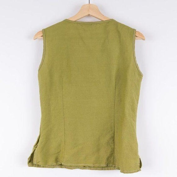Vintage Corset Style Eden Lace Up Green Tank Top - image 5