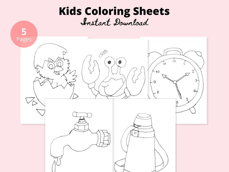 Instant Download Coloring Pages Chick Crab Clock Tap Etsy