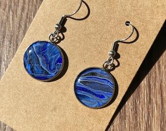 Seashore Earrings Unique dangle tear drop earrings handmade from beach sand and ultramarine blue resin
