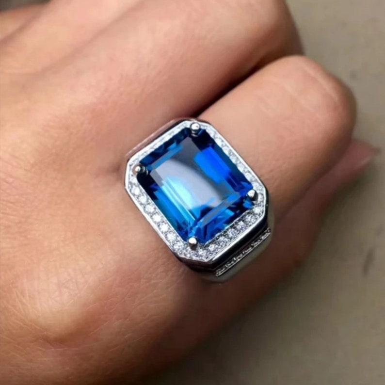 Landon Blue Topaz Silver Ring  925 Sterling Silver Ring  Stylish Men/'s Ring  December Birthstone Ring  Wedding Ring  Engagement Ring