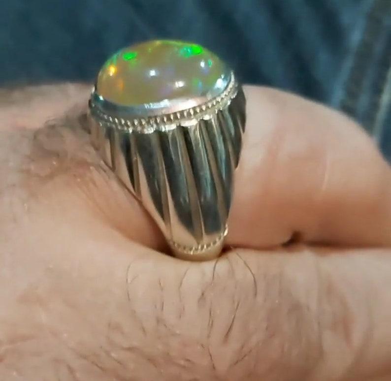Natural Opal Men/'s Ring925 Sterling Silver RingMulti Fire Opal RingStyles Men/'s RingMen/'s JewelryEngagement Wedding RingChristmas Sale