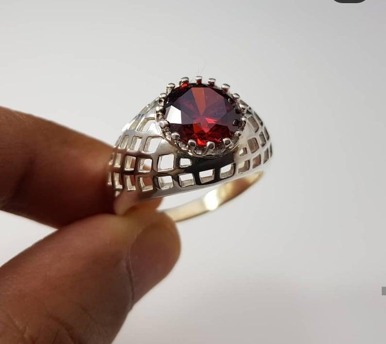 Natural Red Garnet Men/'s Silver Jewelry Garnet Ring 925 Sterling Silver Ring January Birthstone RingWedding Engagement RingRing For Him