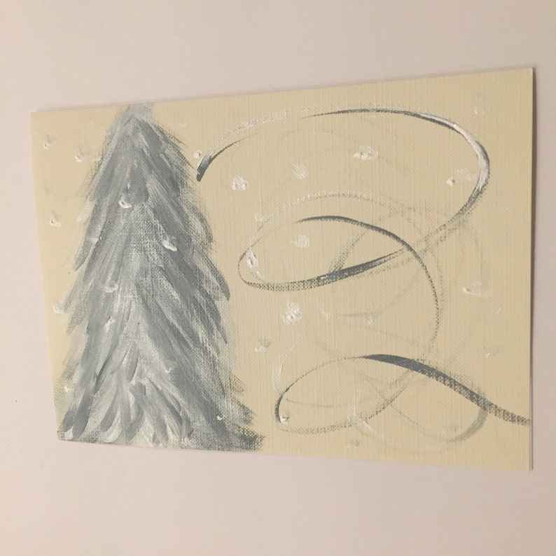 signed on the back Original 5 x 6 78 blank inside Christmas pine trees abstract hand painted canvas card