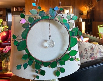 MADE TO ORDER Stained Glass Eucalyptus Wreath - Iridescent Suncatcher With A Crystal Prism Ball - Fondanista